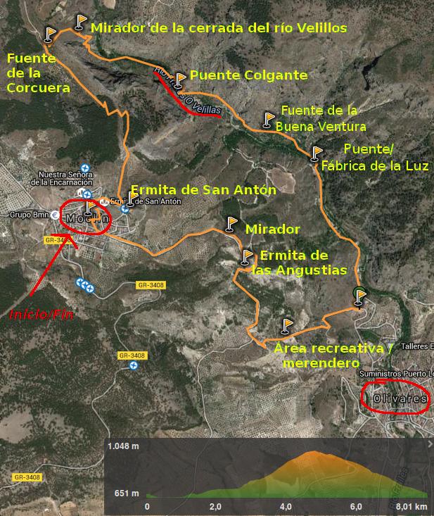 Mapa y perfil ruta Gollizno